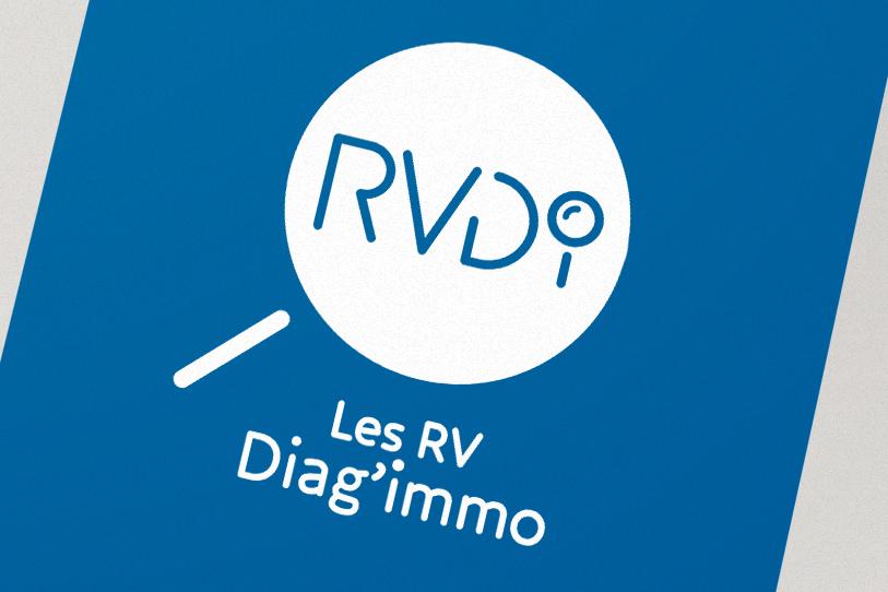 Les RV Diag'immo, création logo blanc