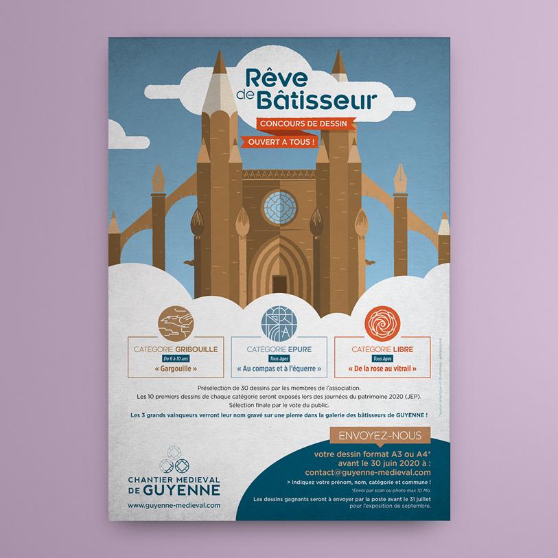 chantier medieval de guyenne - illustration visuel flyer concours dessin