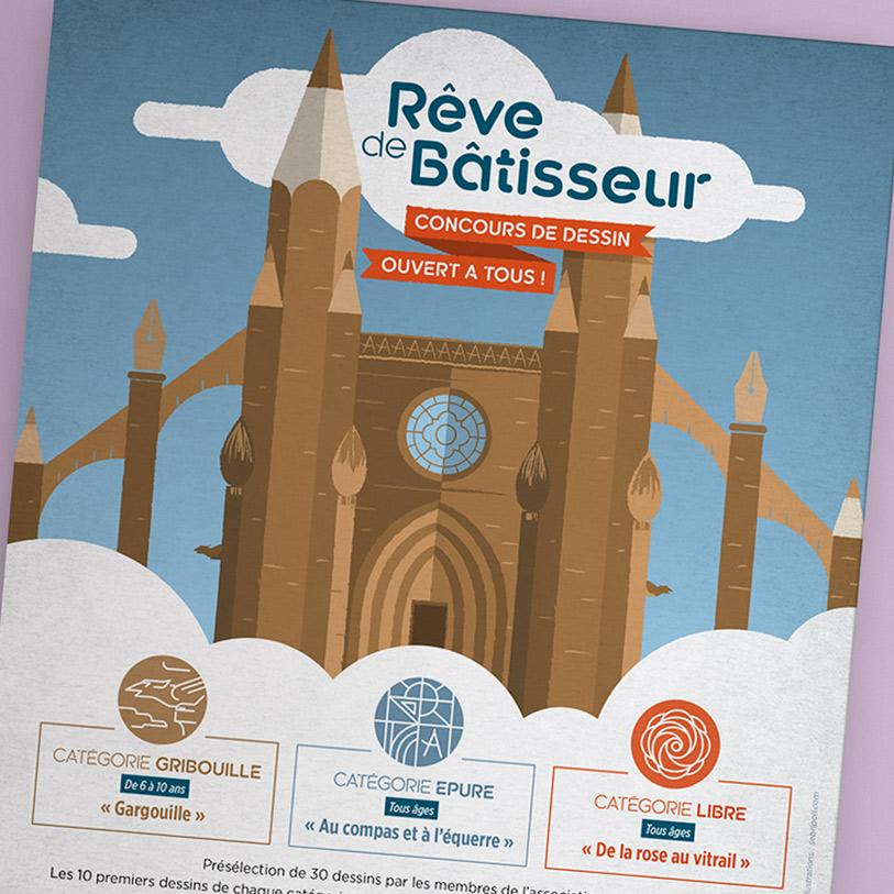 chantier medieval de guyenne - illustration detail flyer concours dessin